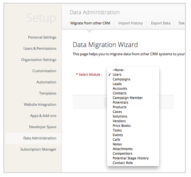 data migration wizard zoho crm