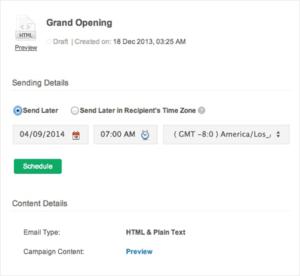 Schedulazione in Zoho Campaigns