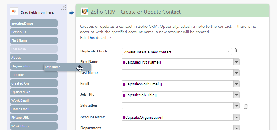 drag and drop zoho crm