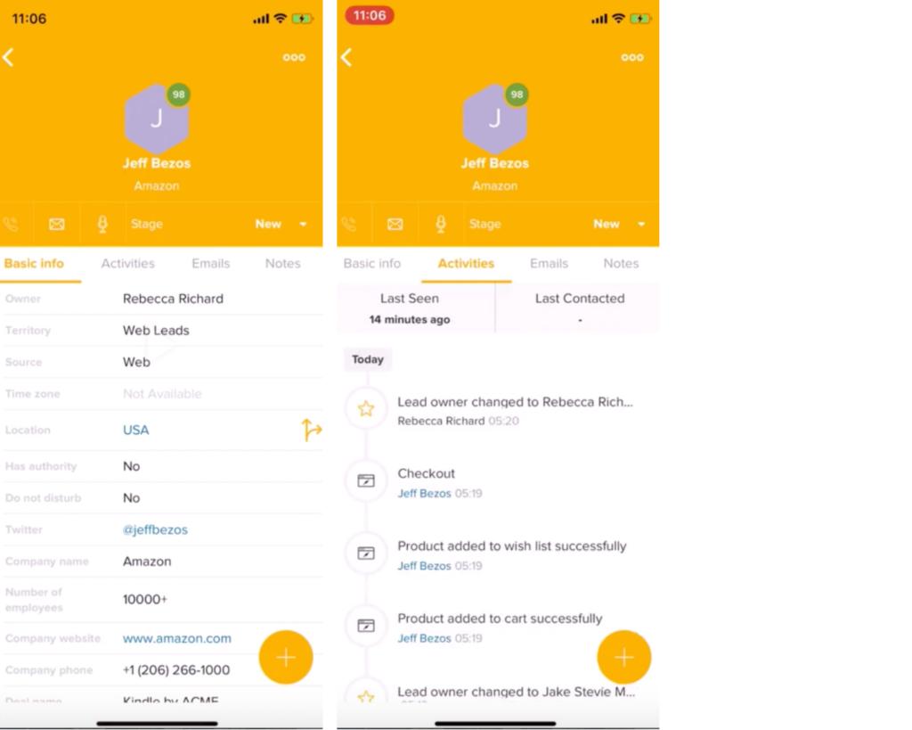 Ottieni un contesto sul lead e cosa sta cercando con FreshSales mobile