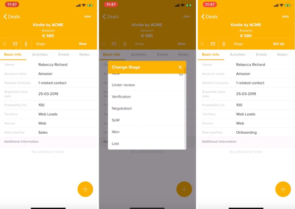 Cambia lo status del tuo lead su Freshsales mobile, e automatizza il flusso di lavoro futuro