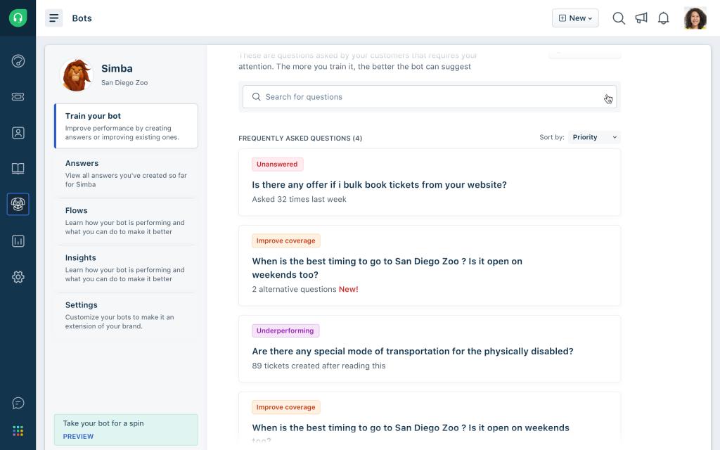 Programma i chatbot per aiutare i tuoi agenti a fornire soluzioni migliori ai clienti