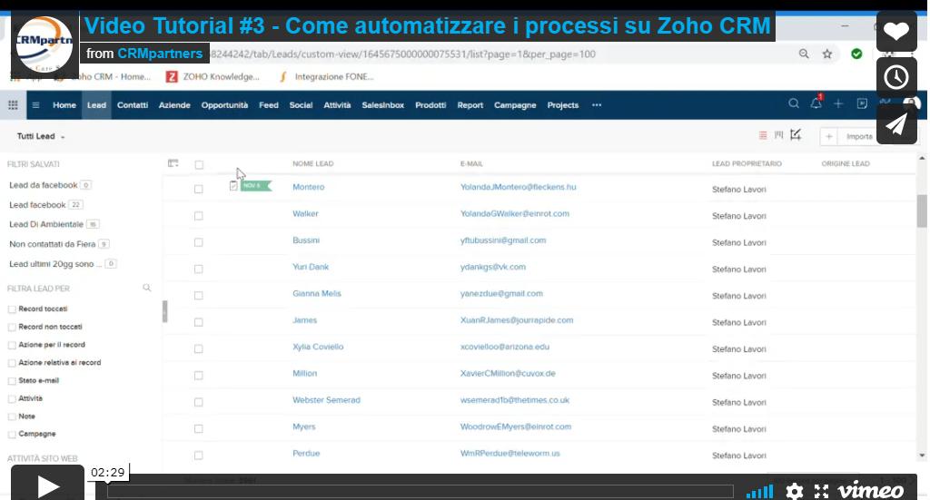 Automatizzare i processi di zohoCRM